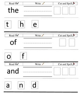 Free 3 Fry Sight Words Bracelets/IN Activity [Read, Write, Cut & Spell]