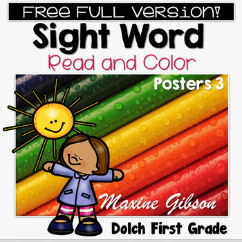 Free Full Version Sight Word Read and Color Posters First Grade