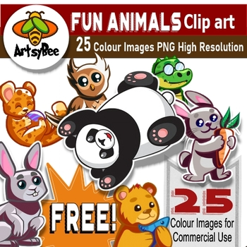 Free Fun Animals for Kids Clip Art Set 1 for download