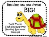 Turtle Theme: Fun Bookmarks & Book Response Printables {FREE}
