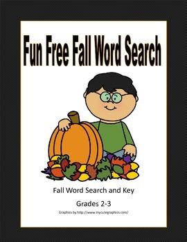 Free Fun Fall Word Search  Grades 2-3