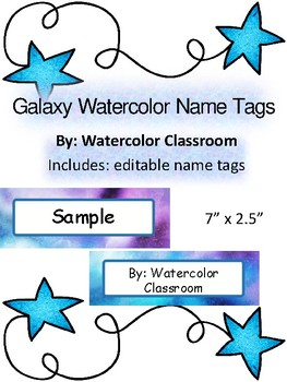 Free Galaxy Watercolor Name Tags- Back to School Shoot for the Stars Desk  labels