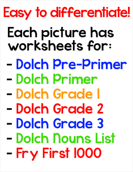 Sight Words Morning Work Worksheets incl. Winter & St. Patrick's Day Activities
