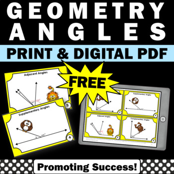 FREE Angles Task Cards Geometry Distance Learning Packet Digital Activities