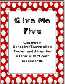 "Free ""Give Me Five"" - Classroom Management"
