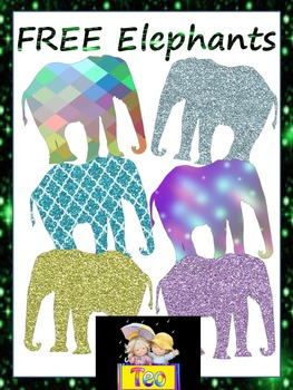Free Glitter Elephants