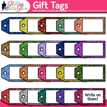 Gift Tags Clip Art {Glitter Holiday & Birthday Labels for Digital Scrapbooking}
