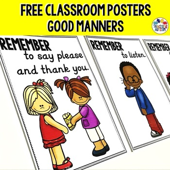 graphic relating to Printable Classroom Posters called Favourable Manners Clroom Posters, Totally free Printable