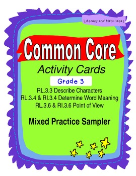 Free Grade 3 Common Core Reading Activity Cards Sampler