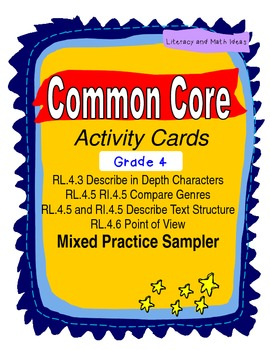 Free Grade 4 Common Core Reading Activity Cards Sampler