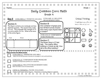 **Free** Grade 4 Daily Common Core Math With Critical Thinking Week 1