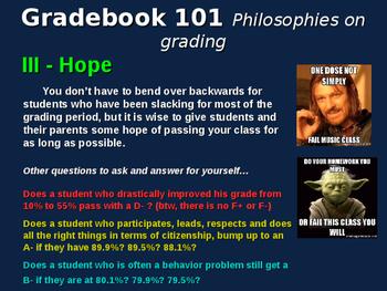 "Free ""Gradebook Philosophy 101"" for newer teachers"