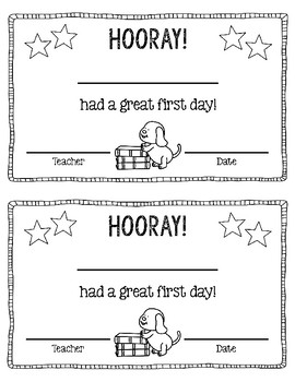 Free! Great First Day of School Certificate