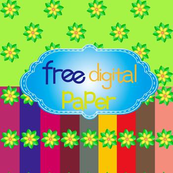 Free Green Flower Digital Papers in 10 Colors