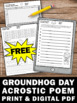 Free Groundhog Day Activities, Poetry Writing and Secret Code Worksheets
