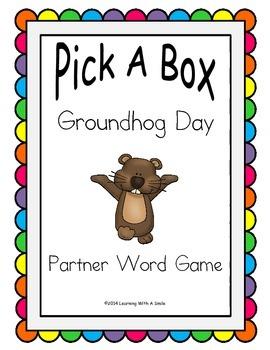 Groundhog Day Partner Game (FREE) ~ Pick-A-Box ~ Word Work