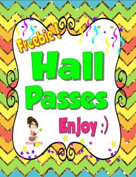 Free Hall Passes Glitter Theme