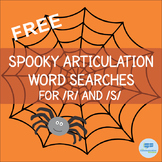 Free Halloween Speech Therapy Articulation Word Searches - R and S Sounds