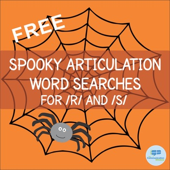 Free Halloween Articulation Word Searches - R and S Sounds
