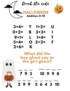 Free! Halloween Crack the Code joke! Addition 0-10 math page!