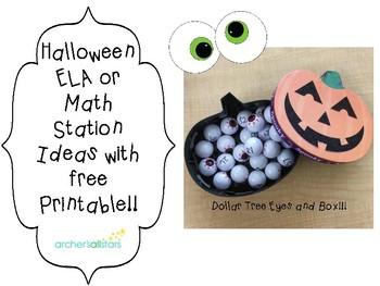 Free Halloween ELA or Math Station Ideas with Printable