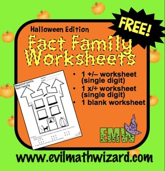 Free: Halloween Fact Family Worksheets