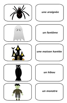 Free Halloween French Picture Cards  (PDF)