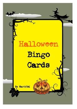 Free Halloween Math Bingo Cards
