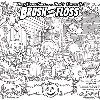 Free Halloween Oral Health Coloring Search & Find Activity Page
