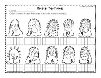 Free Halloween Ten Frames Practice Pages