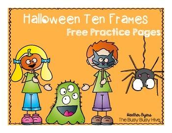 Free Halloween Ten Frames Practice Pages