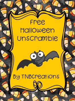 FREE Halloween Unscramble Worksheet