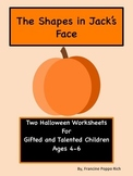 Free Halloween Worksheets for Gifted and Talented 4-6 year-olds
