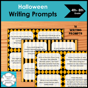 Free Halloween Writing Prompts for upper elementary and middle school