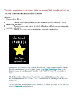 Free Hamilton the Musical Lesson Plan