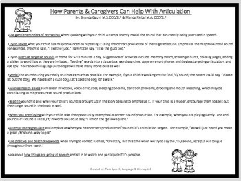 Free Handout For Parents & Caregivers On How To Help With Articulation