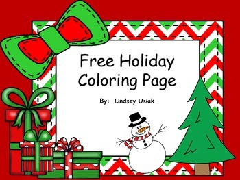 Free Happy Holiday's Coloring Sheet - Christmas Theme / Winter Theme
