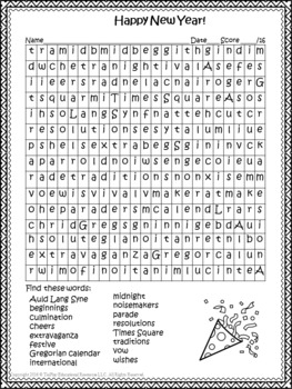 FREE Happy New Year Word Search and Key