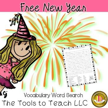 FREE Happy New Year Word Search Vocabulary English Language Arts Worksheet
