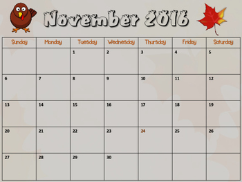 Free Holiday 2016 Calendar with Trace Lines