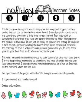 Free Holiday Bingo Game