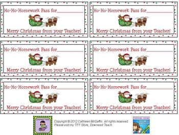 Free Holiday Homework Passes by Downeast Teach | TpT