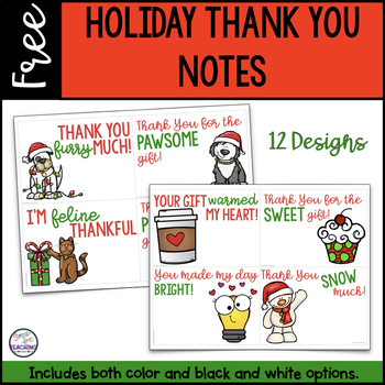 Free Holiday Thank You Notes