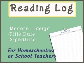 Free Home Reading Log Printable for teachers or homeschoolers