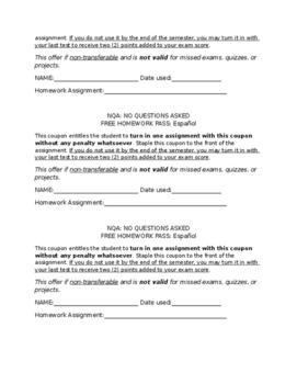 Free Homework Pass