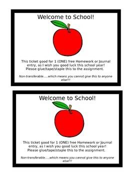 Free Homework Pass - Beginning of School year