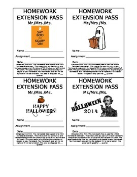 Free Homework Pass - Halloween