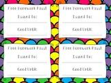 Free Homework Pass Printable {FREE}