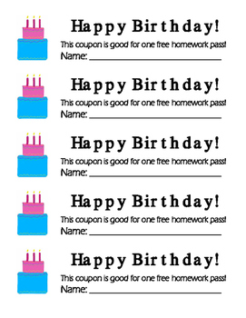 Free Homework Passes for the year!