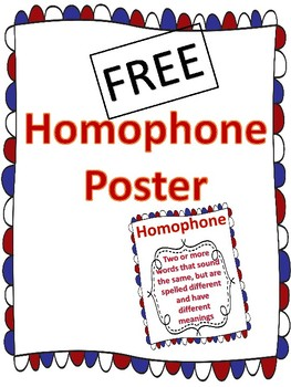 Free Homophone Poster